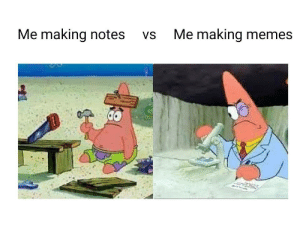 Memes, Notes, and Making: Me making notes  Vs  Me making memes