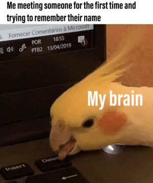 It started with a G, right?: Me meeting someone for the first time and  trying to remember their name  Fornecer Comentários à Microsoft  18:55  4) POR  PTB2 13/04/2019  My brain  Delet  Insert It started with a G, right?