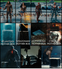 "Energy, Memes, and Control: ME MET  ATLANTEAN AMAZONIAN HUMANKIND CYBOR  MOTHER BOx MOTHER Box MOTHER BOX MOTHER BOX  @VONDERVAUGHN THE MOTHER OF ALL BOXES! Appearances of Mother Boxes in the DCEU * IS CYBORG TRULY HUMANKIND's MOTHER BOX? * IN THIRD ROW: The Mother Box being held by Cyborg appears to be the same one on the table next to Aquaman. In the Stone's apartment, a Mother Box glows and rumbles as a Parademon prepares the strike Dr. Silas Stone. * A MOTHER BOX is a sentient, miniaturized, portable supercomputer that usually communicates with a repetitive ""ping!"". It shares a mystical rapport with nature and is capable of wondrous powers and vast abilities that includes teleportation through time and space (via Boom Tubes), sensing danger, creating force fields, rearranging molecular structure, energy manipulation, healing the injured, and taking control over non-sentient machines. *** @benaffleck @gal_gadot @prideofgypsies rayfisher ezramiller unitetheleague benaffleck brucewayne galgadot dianaprince jasonmomoa arthurcurry ezramiller barryallen rayfisher victorstone henrycavill clarkkent manofsteel thedarkknight girlpower women femaleempowerment MulherMaravilha MujerMaravilla motherbox"