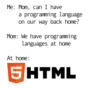 Home, Programming, and Mom: Me: Mom, can I have  a programming language  on our way back home?  Mom: We have programming  Languages at home  At home:  HTML  5 Please mooooooom!