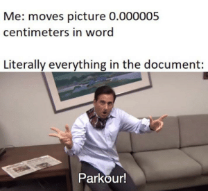 Parkour, Word, and Picture: Me: moves picture 0.000005  centimeters in word  Literally everything in the document:  Parkour! baamboozled!