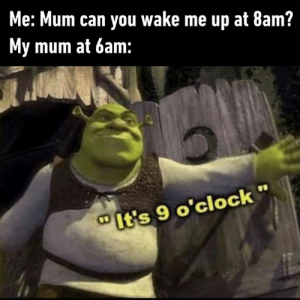 Dank, Love, and 🤖: Me: Mum can you wake me up at 8am?  My mum at 6am:  It's 9 o'clock I still love you tho mum