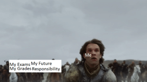 Future, Game of Thrones, and Meme: Me  My Exams My Future  My Grades Responsibility Reality. My first meme creation