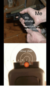 Phone, Weird, and Pictures: Me  My  phone  Weird pictures  with no context  roup chats  9 10 meirl