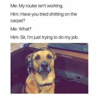 Dude, Memes, and Router: Me: My router isn't working  Him: Have you tried shitting on the  carpet?  Me: What?  Him: Sir, I'm just trying to do my job.  Detasaim I wish my IT dude was this adorable and also a dog 💯😍💕(@betasalmon)