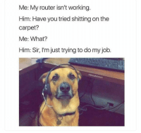 Funny, Router, and Job: Me: My router isn't working  Him: Have you tried shitting on the  carpet?  Me: What?  Him: Sir, I'm just trying to do my job. 😂💀 NoChill
