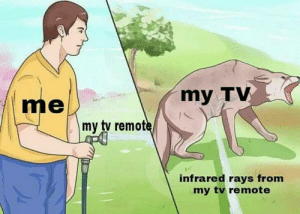 tv remote: me  my TV  /K  my tv remot  ir  infrared rays from  my tv remote