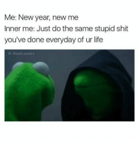 New Year's, New Year New Me, and Tank: Me: New year, new me  Inner me: Just do the same stupid shit  you've done everyday of ur life  IG: @tank sinatra