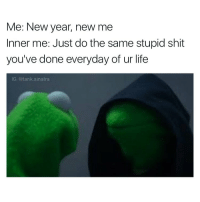 Funny, New Year's, and New Year New Me: Me: New year, new me  Inner me: Just do the same stupid shit  you've done everyday of ur life  IG: @tank sinatra But also expect different results so you get frustrated