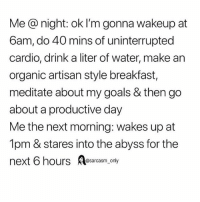 SarcasmOnly: Me @ night: ok I'm gonna wakeup at  6am, do 40 mins of uninterrupted  cardio, drink a liter of water, make an  organic artisan style breakfast,  meditate about my goals & then go  about a productive day  Me the next morning: wakes up at  1pm & stares into the abyss for the  next 6 hours sarcasm, only SarcasmOnly