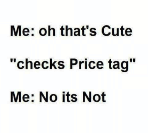 "Cute, Price, and Price Tag: Me: oh that's Cute  ""checks Price tag""  Me: No its Not"