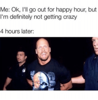 Crazy, Definitely, and Memes: Me: Ok, l'll go out for happy hour, but  I'm definitely not getting crazy  4 hours later:  Ags Every time!!!! 😂😂
