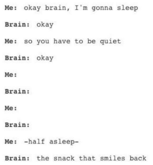 Dank, Memes, and Target: Me: okay brain, I'm gonna sleep  Brain: okay  Me: so you have to be quiet  Brain: okay  Me:  Brain:  Me:  Brain:  Me: -half asleep-  Brain: the snack that smiles back meirl by Dioritegravel FOLLOW HERE 4 MORE MEMES.