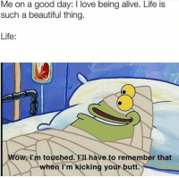 Alive, Beautiful, and Butt: Me on a good day: I love being alive. Life is  such a beautiful thing  Life:  Wow, I'm touched. Ilhave to remember that  when I'm kicking yourk butt. It hurts