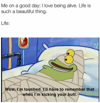 Alive, Beautiful, and Butt: Me on a good day: I love being alive. Life is  such a beautiful thing.  Life:  Wow, I'm touched.VIlhave to remember that  when I'm kicking your butt. Feelsbadman
