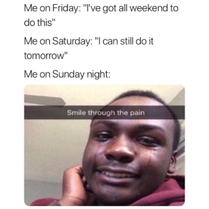 """😅: Me on Friday: """"'ve got all weekend to  do this""""  Me on Saturday: """"l can still do it  tomorrow""""  Me on Sunday night:  Smile through the pain 😅"""
