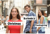 Christmas, Memes, and Thanksgiving: Me on November ist  Christmas  Thanksgiving australia is literally just straight to christmas anyway boi