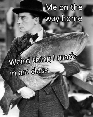 Weird, Home, and Art: Me on the  way home  Weird thing I made  in art class This one is too big for mommas mantle! Invest! via /r/MemeEconomy https://ift.tt/2JGOf1s
