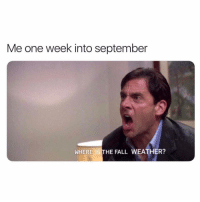 Fall, The Fall, and Weather: Me one week into september  WHERE IS THE FALL WEATHER?