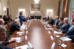 Trump, Table, and Oval: ME Pelosi debating Trump at the oval table