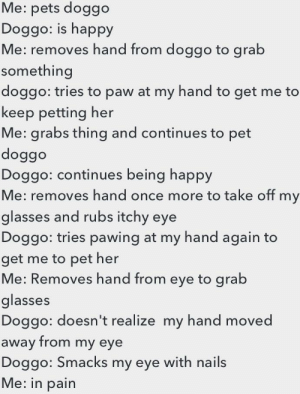 My doggo 'Shelly' do an oof: Me: pets doggo  Doggo: is happy  Me: removes hand from doggo to grab  something  doggo: tries to paw at my hand to get me to  keep petting her  Me: grabs thing and continues to pet  doggo  Doggo: continues being happy  Me: removes hand once more to take off my  glasses and rubs itchy eye  Doggo: tries pawing at my hand again to  get me to pet her  Me: Removes hand from eye to grab  glasses  Doggo: doesn't realize my hand moved  away from my eye  Doggo: Smacks my eye with nails  Me: in pain My doggo 'Shelly' do an oof