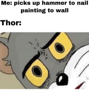 Thor, Hammer, and Painting: Me: picks up hammer to nail  painting to wall  Thor