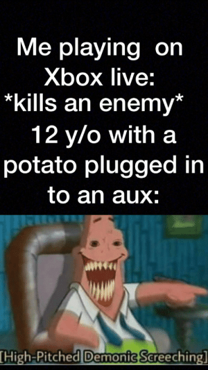 Potato mic: Me playing on  Xbox live:  *kills an enemy*  12 y/o with a  potato plugged in  to an aux:  High-Pitched Demonic Sereeching] Potato mic