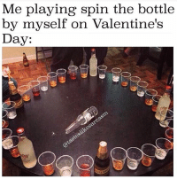 Actually I have a lot of men in my life right now-there's Johnnie, and there's Jack and if I'm feeling frisky Don Julio always hits the spot (@tasteslikesarcasm): Me playing spin the bottle  by myself on Valentine's  Day: Actually I have a lot of men in my life right now-there's Johnnie, and there's Jack and if I'm feeling frisky Don Julio always hits the spot (@tasteslikesarcasm)