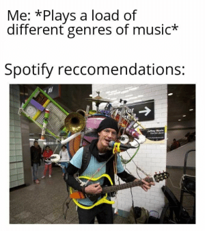 It's a lucky dip -- #funny #funnymemes #funnypictures #funnyquotes #funnyanimals #jokes #funnytexts #topmemesclub: Me: *Plays a load of  different genres of music*  Spotify reccomendations:  AV  Jeffrey Masin  One Man Band It's a lucky dip -- #funny #funnymemes #funnypictures #funnyquotes #funnyanimals #jokes #funnytexts #topmemesclub