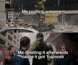 Meme, Reddit, and Got: Me posting a meme  ONE  WAY  BAGS FLY FR  Me deleting it afterwards  cause it got 1upvote Of course that doesn't happen to me HeH
