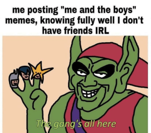 "Friends, Memes, and Irl: me posting ""me and the boys""  memes, knowing fully well I don't  have friends IRL  The gang's all here meirl"