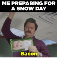 For everyone up north about to get snowed on or currently buried, hope you have the essentials. 🥓: ME PREPARING FOR  A SNOW DAY  Bacon For everyone up north about to get snowed on or currently buried, hope you have the essentials. 🥓