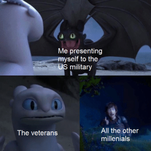 Let's go boys!: Me presenting  myself to the  US military  All the other  The veterans  millenials Let's go boys!