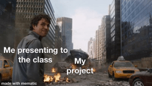 Memes, Class, and Project: Me presenting to  Мy  project  the class  made with mematic Also posted to r/memes and r/dankmemes
