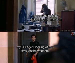 Fbi, Marvel Comics, and Spider: me pretending to be  Spider-Man in my room  @mcuspidermemes  my FBI agent looking at me  through the webcam Let's face it, this isn't the worst thing you've caught me doing