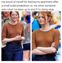 Memes, Okay, and Proud: me proud of myself for leaving my apartment after  a small scale breakdown vs. me when someone  asks what i've been up to and if i'm doing okay  @thedailylit 1 how dare you?