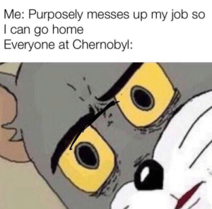 Home, Job, and Chernobyl: Me: Purposely messes up my job so  I can go home  Everyone at Chernobyl .