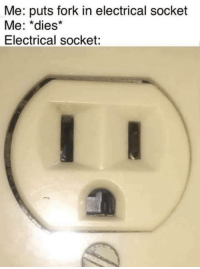 MeIRL, Socket, and Electrical: Me: puts fork in electrical socket  Me: *dies*  Electrical socket: meirl