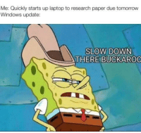 Windows, Laptop, and Tomorrow: Me: Quickly starts up laptop to research paper due tomorrow  Windows update:  SLOW DOWN  THERE BUCKAROO Configuring update 30%
