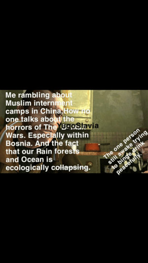 My friends consider the nineties equivalent of Hitler's rise to power boring.: Me rambling about  Muslim internment  camps in China, How no  one talks about the  horrors of TheYugoSlavia  Wars. Especially within  Bosnia. And the fact  that our Rain forests  and Ocean is  The one person  still awake trying  to binge drink  peacefully.  ecologically collapsing. My friends consider the nineties equivalent of Hitler's rise to power boring.