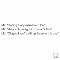 "Dank, Dogs, and Funny: Me: reading funny memes out loud*  Me: *shines phone light in my dog's face*  Me: ""Ok good you're still up, listen to this one""  MEMES We don't deserve dogs."