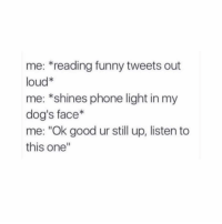 """poor doggo. do you have a dog?: me: *reading funny tweets out  loud*  me: *shines phone light in my  dog's face*  me: """"Ok good ur still up, listen to  this one"""" poor doggo. do you have a dog?"""