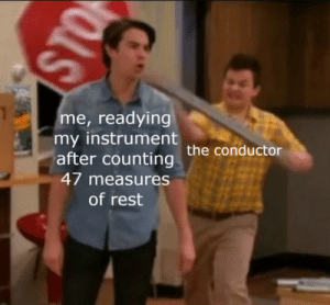 musical nerdiness: me, readying  my instrument  after counting the conductor  47 measures  of rest musical nerdiness