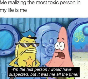 "Life, Tumblr, and Blog: Me realizing the most toxic person in  my  life is me  -I'm the last person I would have  suspected, but it was me all the time! dragon108090:  anxietyproblem:Follow us @anxietyproblem​Define ""Inner Conflict""."