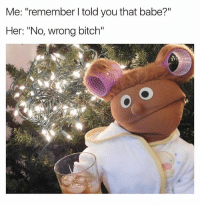 """Bitch, Women, and Dank Memes: Me: """"remember l told you that babe?""""  Her: """"No, wrong bitch"""" Women...🤦🏽♂️"""