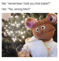 "Bitch, Crazy, and Dank Memes: Me: ""remember l told you that babe?""  Her: ""No, wrong bitch"" Crazy..🙃🙃🙃 JustGirlyThings"