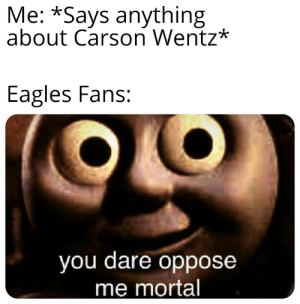 Philadelphia Eagles, Nfl, and Eagle: Me: *Says anything  about Carson Wentz*  Eagles Fans:  you dare oppose  me mortal Eagle fans in a nutshell