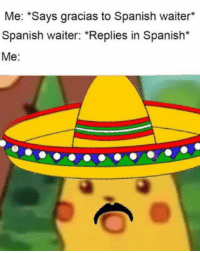 "Dank, Memes, and Pikachu: Me: ""Says gracias to Spanish waiter*  Spanish waiter: ""Replies in Spanish*  Me: Best Surprised Pikachu Memes and More! - Dank Memes November 2018"