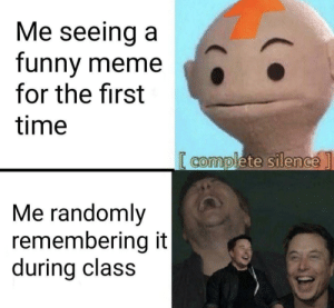 Me_irl: Me seeing a  funny meme  for the first  time  [ complete silence]  Me randomly  remembering it  during class Me_irl