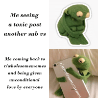 Love, Back, and Another: Me seeing  a toxic post  another sub vs  Me coming back to  r/wholesomememes  and being given  unconditional  love by everyone Thanks Everyone!
